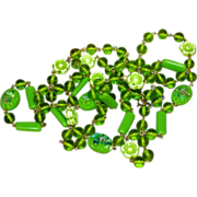 """Murano Venetian Green Moulded Glass 48"""" Flapper Necklace"""