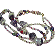 Amethyst Crystals Carved Rock Crystal Large and Unique Necklace