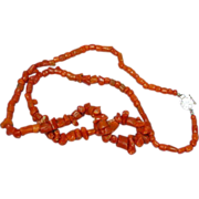 """Coral Single Strand Museum Quality Coral with Ornate Clasp 24"""" Necklace"""