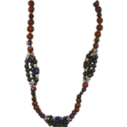 "SALE Art Glass African Trade Beads Long 26"" Glass Necklace"