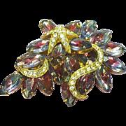 Rhinestones,Givre Glass,Purple,Pink Glass Stones w/Star Fish Brooch