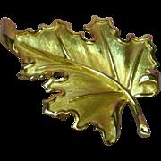 SALE 50% OFF SALE Crown Trifari Gold Tone Realistic Leaf  Pin Brooch