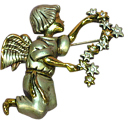 Angel Playing with the Stars Gold and Silver Tone Pin Brooch