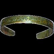 Signed Vintage Native American Sterling and Gold filled Storyteller Bracelet