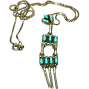 Native American Indian Petite Needlepoint Turquoise Dangle Necklace in Sterling Silver