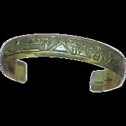 Traditional Native American Storyteller Sterling Silver Cuff Bracelet