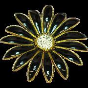 SALE 50% OFF SALE  Enamel Black & White Giant Flower Brooch Pin