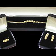 SALE 50% OFF SALE Pearl Faux Rhinestones Bracelet,Earrings and Ring Elegant NOS Boxed Set