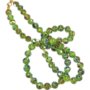 Italian Murano Glass Single Strand Spring Green Awesome Necklace