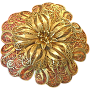 Sterling Silver, Filigree Flower Enormous ! Gigantic ! Hand Made Brooch,Pin
