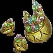 Rhinestones Scrumptious Pastel Brooch and Earrings Demi Parure