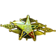 Eastern Star Enamel Fraternal 10K Gold Brooch Pin