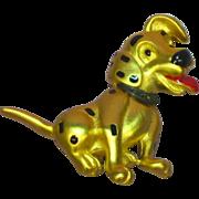 Disney Marked Dalmatian Dog Enamel Gold Tone Pin Brooch