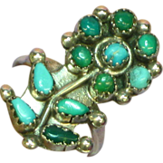 Zuni Petit Point Vintage Green Blue Turquoise Native American  Ring