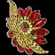 D&E Vintage Fantastic Red Rhinestone Unsigned Designer Quality Dimensional Brooch