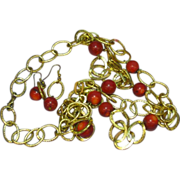Coral Red 12.5 mm Beads w/ Light Weight Gold tone Chain Necklace and Earrings Demi Parure