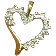 SALE 10K Yellow Gold Diamonds Witches Heart Pendant or Charm