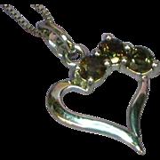 Sterling Silver Heart Genuine Gem Stones Topaz Rhodium Plate Necklace