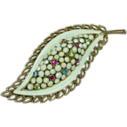 Kramer Milk Glass Rhinestones Enamel Brooch Pin.