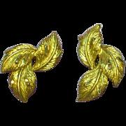 SALE 50% OFF SALE Coro Diamond Cut Gold Tone Tailored Leaf Clip Earrings