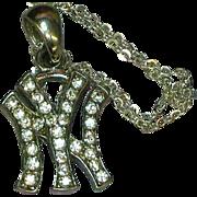 SALE 50% OFF SALE  New York NY Rhinestones Pendant Chain Necklace.