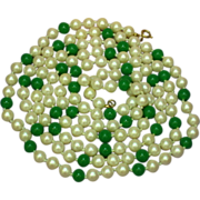 Jade Beads Cultured Pearls Gorgeous Long Strand Estate Necklace