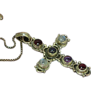 Cross with Genuine Stones Amethyst Garnet Labradorite Sterling Silver Large Incredible Necklac