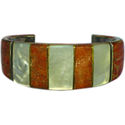 Apple Coral and MOP Inlay Stainless Steel Large Cuff Bracelet