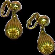 Dangle Goldtone Ribbed Teardrop NOS Clip Earrings