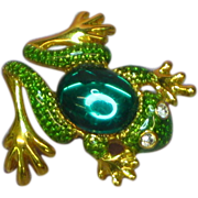 SALE 50% OFF SALE Frog Figural Jelly Belly Green Textured Enamel Pin Brooch