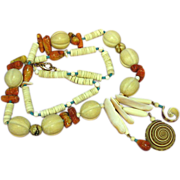 SALE 50% OFF SALE Rare Corals ,Bone,Wood,Turquoise,Shell Ethnic Tropical Necklace.