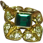 Heavy Gilt Gold and Green and Clear Rhinestone Pendant Irresistible!