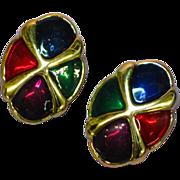 SALE 50% OFF SALE Enamel  Feather Light Jewel Tone Clip Vintage Earrings