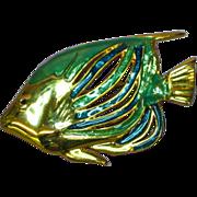 Enamel Large Bright and Beautiful Figural Fish Pin Brooch