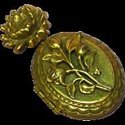 Coro Pegasus Marked  Lotus Flower Pin Pendant Brooch Repousse Locket