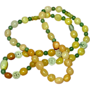 """SALE PENDING Jade Beads Incredible Multi Color Mix Sizes 26"""" Necklace"""