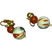 Chinese Hand Painted Ceramic Bead Clip Earrings