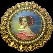 SALE 14K Solid Gold Fine Hand Painted Miniature Portrait Vintage Pin / Brooch / Pendant