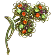SALE 50% OFF SALE Rhinestones Orange Green and Purple Flower Pin Brooch