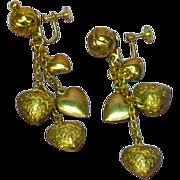 Hearts Puffy Engraved Rose Romantic Dangle Screw Back Earrings