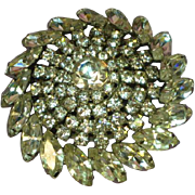 Rhinestones Huge Dazzling Designer Round Pin Brooch