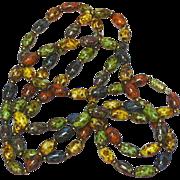 "Enamel Heavy Glazed Colorful Metal Bead 58"" Necklace"