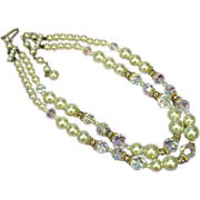 SALE 50% OFF SALE  Crystal,Fancy Cut Glass Rhinestones and Faux Pearl Necklace