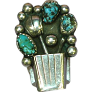 Turquoise Native American Indian Black Spiderweb RARE Basket of Flowers Sterling Silver Ring
