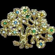 Enamel Rhinestones Tree of Life Gorgeous Estate Brooch Pin