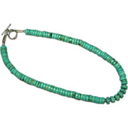 Turquoise Necklace Native American Indian Rolled with Sterling Findings