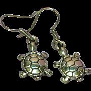 SALE 50% OFF Turtle Figural Silver Tone Hook Pierced Earrings