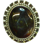 Native American Indian Marbled Fire Agate Sterling Silver Sensational Ring