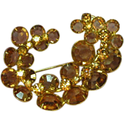 Kramer Signed Topaz and Light Colorado Topaz Crystals Pin Brooch