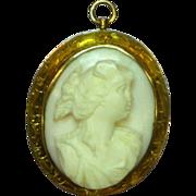 Carved Pink Angel Skin Coral Cameo, Wonderful 14K Gold Detailed Frame Brooch Pin Pendant